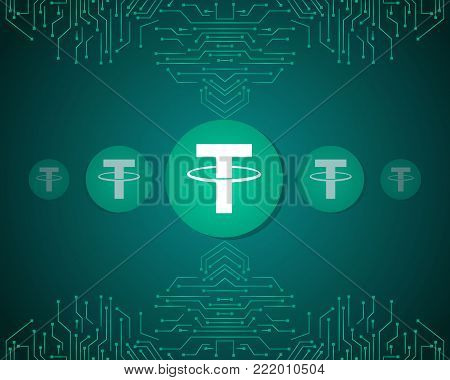 Tether style blockchain background collection vector illustration