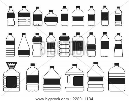 Monochrome pictures set of plastic bottles. Symbols of packaging. Container bottle plastic with water. Vector illustration