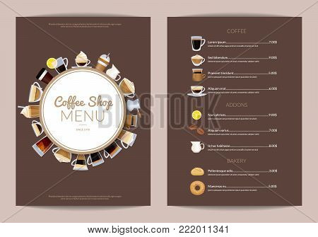 Vector coffee shop vertical menu template. Cafe menu wi drink cup espresso and cappuccino illustration