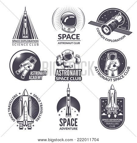 Monochrome illustrations of space shuttle and astronauts for labels and badges. Spaceship and science exploration emblems, launch shuttl with astronaut vector