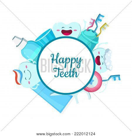 Vector cartoon teeth hygiene elements around circle with place for text. Dental hygiene and healthy care toothbrush and stomatology illustration