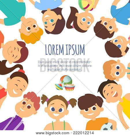 Background with smiling faces of different kids boys and girls. Poster template with place for your text. Girl and boy with hapyy face cartoon, vector illustration