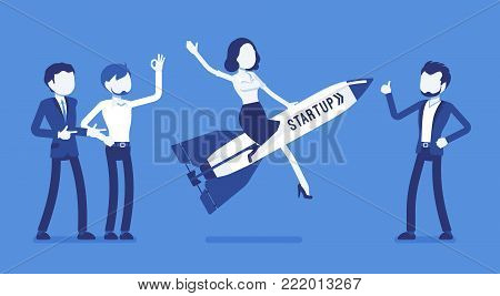 Start up rocket launching. Enterprise and entrepreneur, fast-growing company aims to meet a marketplace, creating and managing new idea. Vector business concept illustration with faceless characters