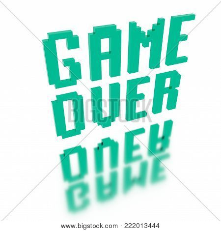 Voxel Low Poly Old Video Game Font Words - Game Over -  Isometric  3D Pixel Art for Design Project