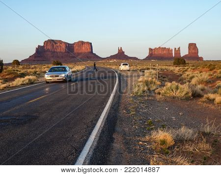 Monument Valley, Arizona, USA - May 12, 2013: Cars on the background Monument Valley.