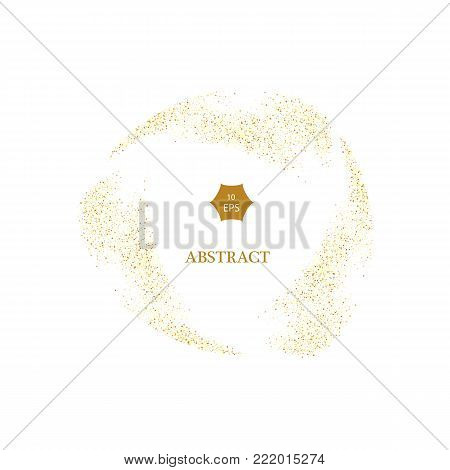 Gold glitter curve trail and starburst vector on white Background, Golden explosion of confetti. Golden grainy abstract.