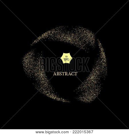 Gold glitter curve trail and starburst vector on Black Background, Golden explosion of confetti. Golden grainy abstract.