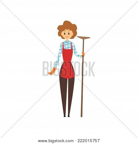 Cute young girl holding wooden mop. Cleaning service concept. Cartoon woman character in maid uniforn brouse, pants, apron and rubber gloves. Flat vector illustration isolated on white background.