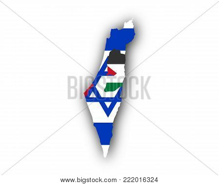 Detailed and accurate illustration of map and flag of Israel and Palestine