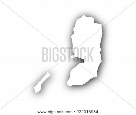 Detailed and accurate illustration of map of Palestine with shadow