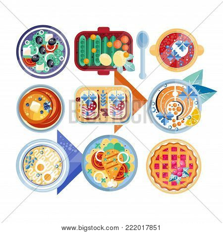 Food icon set. Plates with different dishes. Vegetarian salad, soup with boiled eggs, pancakes with butter, sandwiches, fish with lemon, mashed potatoes with chicken, cranberry pie. Flat vector design