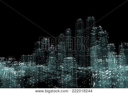 Cityscape futuristic 3d city neon light. 3d illustration. Black background