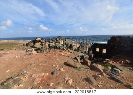 Cool gold mine ruins on the beach in Aruba