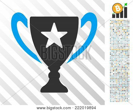 Trophy pictograph with 700 bonus bitcoin mining and blockchain clip art. Vector illustration style is flat iconic symbols design for crypto-currency apps.