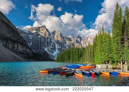Moraine lake in Rocky Mountains, Banff National Park, Canada.