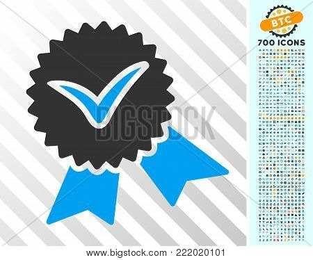 Validation Seal pictograph with 7 hundred bonus bitcoin mining and blockchain pictographs. Vector illustration style is flat iconic symbols design for crypto-currency websites.
