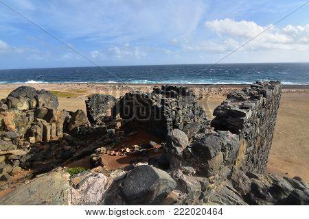 Awesome ancient ruin on the coast of Aruba