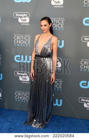 LOS ANGELES - JAN 11:  Gal Gadot at the 23rd Annual Critics' Choice Awards at Barker Hanger on January 11, 2018 in Santa Monica, CA