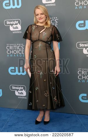 LOS ANGELES - JAN 11:  Elisabeth Moss at the 23rd Annual Critics' Choice Awards at Barker Hanger on January 11, 2018 in Santa Monica, CA