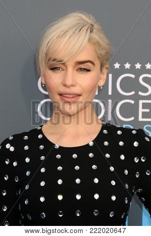 LOS ANGELES - JAN 11:  Emilia Clarke at the 23rd Annual Critics' Choice Awards at Barker Hanger on January 11, 2018 in Santa Monica, CA