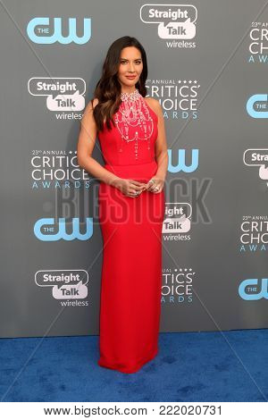 LOS ANGELES - JAN 11:  Olivia Munn at the 23rd Annual Critics' Choice Awards at Barker Hanger on January 11, 2018 in Santa Monica, CA