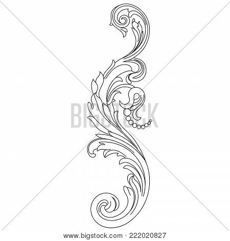 Black vintage ornament, baroque ornament, scroll ornament, engraving ornament, border ornament, floral ornament, retro pattern, antique pattern, style acanthus pattern, foliage pattern, swirl pattern decorative pattern, filigree pattern. vector
