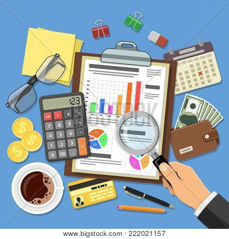 Auditing, Tax process calculation, Accounting Concept. Auditor holds glass in hand and checks financial report. Flat style icons project management, analysis, data. Isolated vector illustration