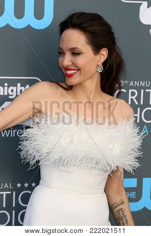 LOS ANGELES - JAN 11:  Angelina Jolie at the 23rd Annual Critics' Choice Awards at Barker Hanger on January 11, 2018 in Santa Monica, CA