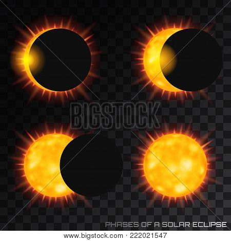 Vector phases of the total solar eclipse with corona on transparent background.