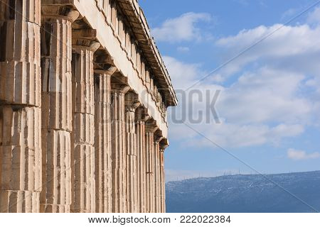 Peristyle  of the greek temple of Hephaistos,  in Athens Agora (detail).
