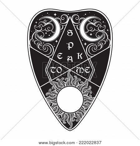 Hand drawn ouija board mystifying oracle planchette isolated. Antique style boho chic sticker, tattoo or print design vector illustration