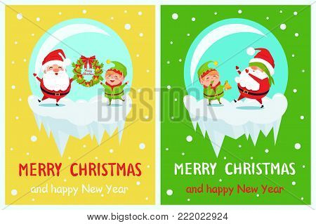 Postcard Merry Christmas Happy New Year Santa and Elf play hide-and-seek, covers eyes and rings in bell, holds wreath vector cartoon characters vector