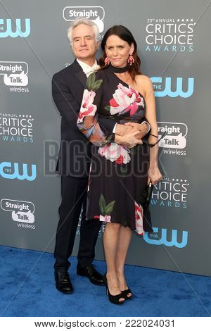 LOS ANGELES - JAN 11:  Bradley Whitford, Amy Landecker at the 23rd Annual Critics' Choice Awards at Barker Hanger on January 11, 2018 in Santa Monica, CA