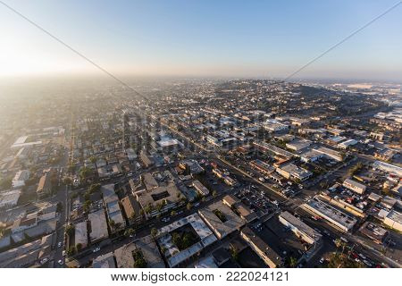 Aerial view of Pacific Coast Highway and Signal Hill in Long Beach, California.