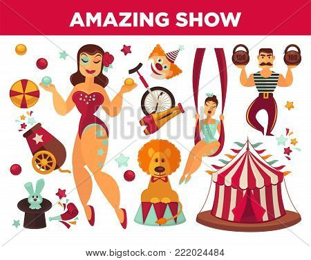 Circus show performance elements and accessories. Vector isolated retro stage flat icons set of tent, magician and equilibrist, lion and magic hat with rabbit, joggling pins and bicycle