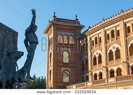 Madrid Landmark. Bullfighter sculpture in front of Bullfighting arena Plaza de Toros de Las Ventas in Madrid, a touristic sightseeing of Spain.