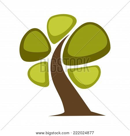 Green tree and tree leaf icon or logo template. Vector isolated cartoon maple, oak or elm and maple deciduous forest symbol for eco environment or horticulture planting icon