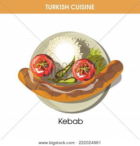 Huge Kebab with chilli pepper and garnish of boiled rice from Turkish cuisine isolated cartoon flat vector illustration on white background. Exotic rich dish made of meat with spicy vegetables.