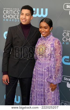 LOS ANGELES - JAN 11:  Marcus Scribner, Yara Shahidi at the 23rd Annual Critics' Choice Awards at Barker Hanger on January 11, 2018 in Santa Monica, CA