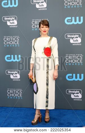 LOS ANGELES - JAN 11:  Carrie Coon at the 23rd Annual Critics' Choice Awards at Barker Hanger on January 11, 2018 in Santa Monica, CA
