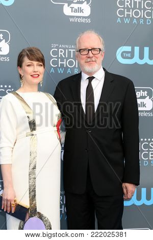 LOS ANGELES - JAN 11:  Carrie Coon, Tracy Letts at the 23rd Annual Critics' Choice Awards at Barker Hanger on January 11, 2018 in Santa Monica, CA