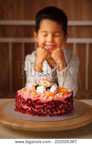 a boy sits in front of a cake and makes a wish. the child anticipates blowing out the candles. the dreams of children.