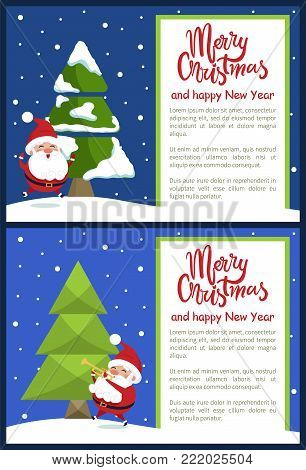 Merry Christmas and Happy New Year greeting card with Santa jumping or leaping, playing on trumpet near Xmas tree on snowy backdrop vector illustration