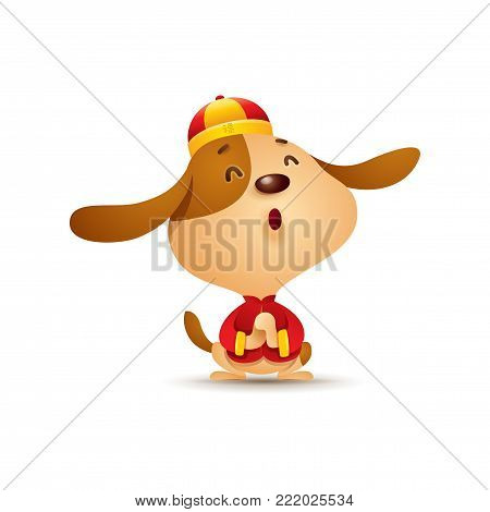 Chinese New Year. Dog character design with traditional chinese costume. The year of the dog. Gong xi Gong xi.