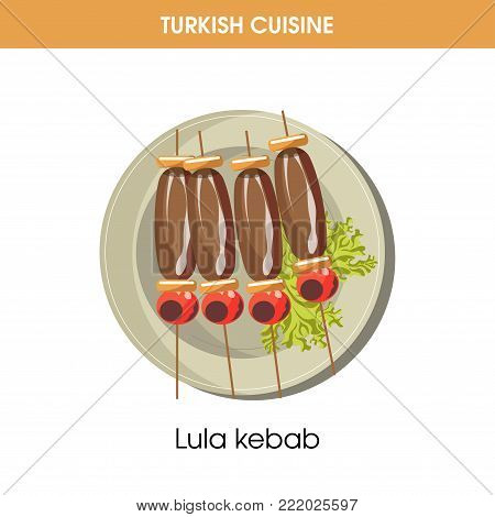 Lula kebab on wooden sticks from Turkish cuisine isolated cartoon flat vector illustration on white background. Dish of minced meat made of chopped lamb, strung on thin skewers and fried on grill.