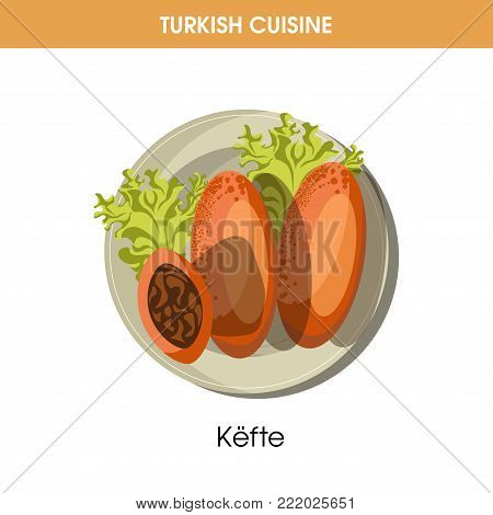 Nutritious Kefte with lettuce leaves from traditional Turkish cuisine isolated cartoon flat vector illustration on white background. Delicious dish of meatballs, made mainly of juicy mutton.