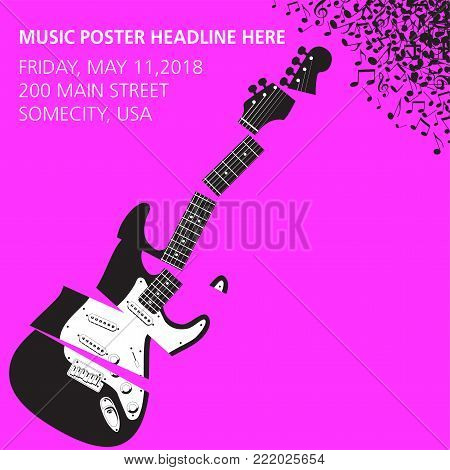 Shredded Guitar Music background with space for type for print or web use