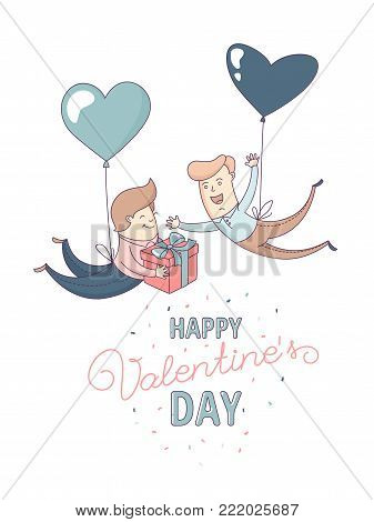 Happy Valentine's Day greeting card Cute funny gay couple, homosexual male couple in love romantic characters flying heart shape balloons. Flat line design. Vector illustration.