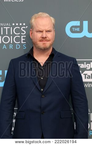 LOS ANGELES - JAN 11:  Jim Gaffigan at the 23rd Annual Critics' Choice Awards at Barker Hanger on January 11, 2018 in Santa Monica, CA