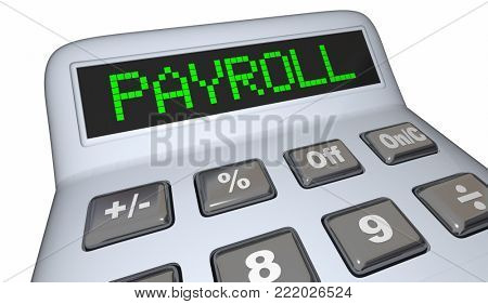 Payroll Calculator Staff Employees Salary 3d Illustration